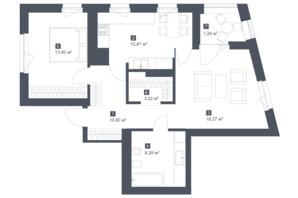 ЖК Silver flow: планировка 2-комнатной квартиры 68.59 м²