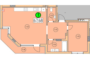 ЖК SilverPark: планировка 1-комнатной квартиры 67.68 м²