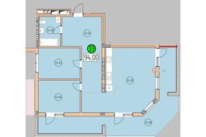 ЖК SilverPark: планировка 3-комнатной квартиры 94 м²