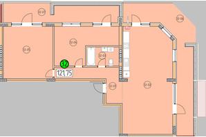 ЖК SilverPark: планировка 3-комнатной квартиры 121.75 м²