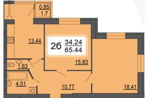 ЖК Сімейний Comfort: планування 2-кімнатної квартири 65.44 м²
