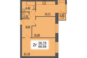 ЖК Сімейний Comfort: планування 2-кімнатної квартири 66.97 м²