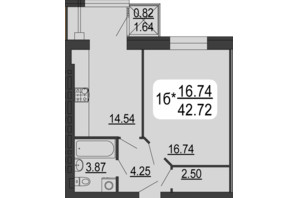 ЖК Сімейний Comfort: планування 1-кімнатної квартири 42.72 м²
