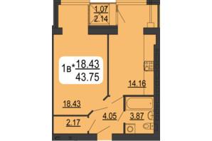 ЖК Сімейний Comfort: планування 1-кімнатної квартири 43.75 м²