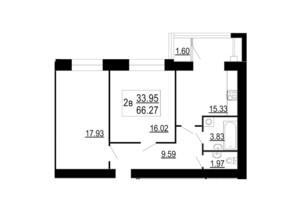 ЖК Сімейний Comfort: планування 2-кімнатної квартири 66.27 м²