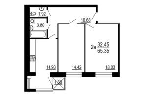ЖК Сімейний Comfort: планування 2-кімнатної квартири 65.35 м²