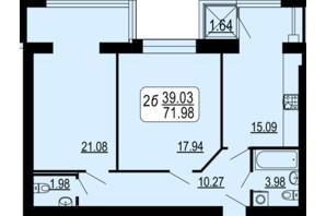 ЖК Сімейний Comfort: планування 2-кімнатної квартири 71.98 м²