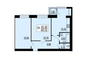 ЖК Сімейний Comfort: планування 2-кімнатної квартири 68.02 м²