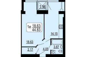 ЖК Сімейний Comfort: планування 1-кімнатної квартири 44.83 м²
