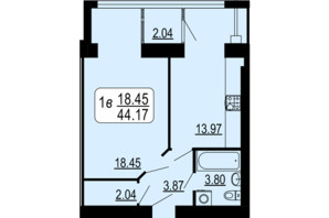 ЖК Сімейний Comfort: планування 1-кімнатної квартири 44.17 м²