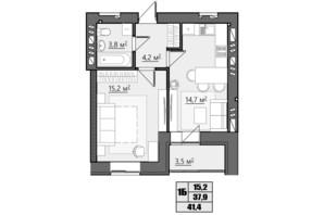 ЖК Сімейний: планування 1-кімнатної квартири 41.4 м²