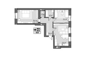 ЖК Сімейний: планування 2-кімнатної квартири 72.4 м²