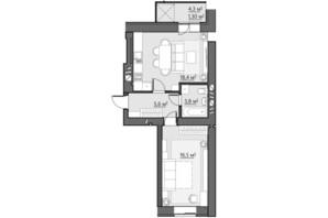 ЖК Сімейний: планування 1-кімнатної квартири 45.6 м²