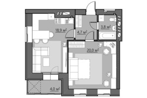 ЖК Сімейний: планування 1-кімнатної квартири 51.4 м²