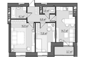 ЖК Сімейний: планування 2-кімнатної квартири 59.9 м²