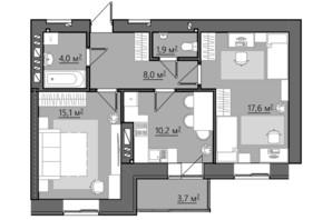 ЖК Сімейний: планування 2-кімнатної квартири 60.5 м²