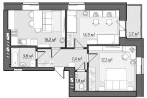 ЖК Сімейний: планування 2-кімнатної квартири 64.9 м²