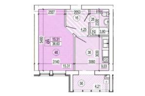 ЖК Сімейний квартал: планування 1-кімнатної квартири 36 м²