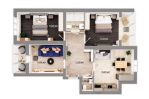 ЖК Сімейний квартал: планування 3-кімнатної квартири 77.13 м²
