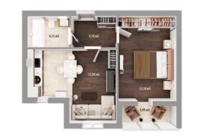 ЖК Сімейний квартал: планування 1-кімнатної квартири 43.5 м²