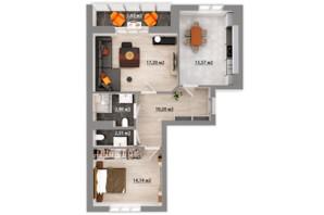 ЖК Сімейний квартал: планування 2-кімнатної квартири 66.48 м²