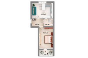 ЖК Сімейний квартал: планування 1-кімнатної квартири 42.86 м²