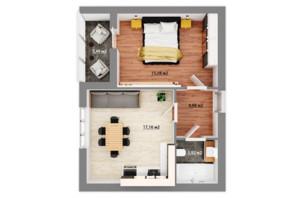 ЖК Сімейний квартал: планування 1-кімнатної квартири 42.69 м²