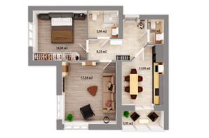 ЖК Сімейний квартал: планування 2-кімнатної квартири 58.59 м²