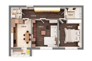 ЖК Сімейний квартал: планування 2-кімнатної квартири 63.41 м²