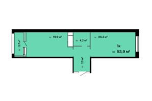 ЖК Скай Сіті: планування 1-кімнатної квартири 53.9 м²
