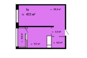 ЖК Скай Сіті: планування 1-кімнатної квартири 47.1 м²