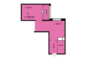 ЖК Скай Сіті: планування 1-кімнатної квартири 47.3 м²