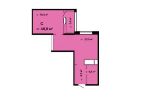ЖК Скай Сіті: планування 1-кімнатної квартири 46.9 м²