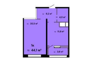 ЖК Скай Сіті: планування 1-кімнатної квартири 44.1 м²