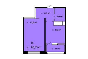 ЖК Скай Сіті: планування 1-кімнатної квартири 43.7 м²