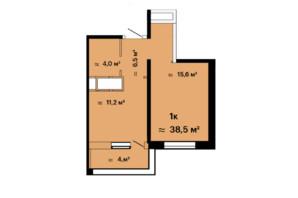 ЖК Скай Сіті: планування 1-кімнатної квартири 38.5 м²