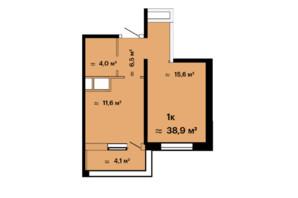ЖК Скай Сіті: планування 1-кімнатної квартири 38.9 м²
