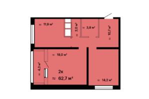 ЖК Скай Сіті: планування 2-кімнатної квартири 62.7 м²
