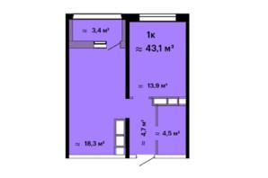 ЖК Скай Сіті: планування 1-кімнатної квартири 43.1 м²