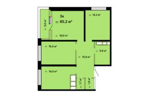 ЖК Скай Сіті: планування 3-кімнатної квартири 85.2 м²