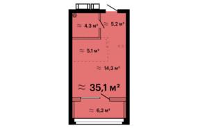 ЖК Скай Сіті Плюс: планування 1-кімнатної квартири 35.1 м²