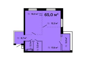 ЖК Скай Сіті Плюс: планування 2-кімнатної квартири 65 м²