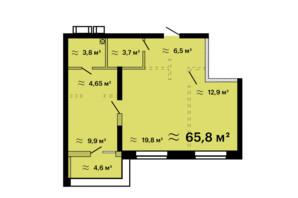 ЖК Скай Сіті Плюс: планування 2-кімнатної квартири 65.8 м²