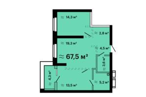 ЖК Скай Сіті Плюс: планування 2-кімнатної квартири 67.5 м²