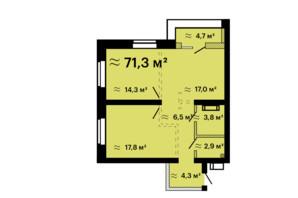 ЖК Скай Сіті Плюс: планування 2-кімнатної квартири 71.3 м²