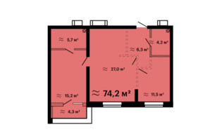 ЖК Скай Сіті Плюс: планування 2-кімнатної квартири 74.2 м²
