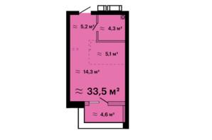 ЖК Скай Сити Плюс: планировка 1-комнатной квартиры 33.5 м²