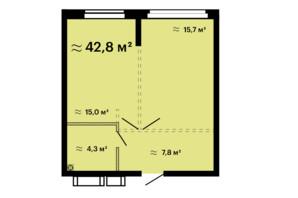 ЖК Скай Сити Плюс: планировка 1-комнатной квартиры 42.4 м²