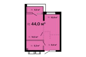 ЖК Скай Сити Плюс: планировка 1-комнатной квартиры 44 м²