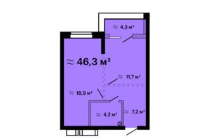 ЖК Скай Сити Плюс: планировка 1-комнатной квартиры 46.3 м²